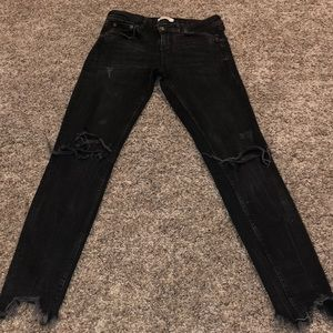 Zara Woman Black Distressed Jeans